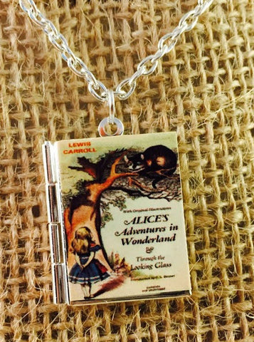 Alice's Adventures in Wonderland book cover locket necklace