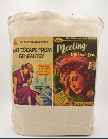 Librarian Pulp Fiction No Escape from Genealogy Meeting Without End Tote bag Book bag