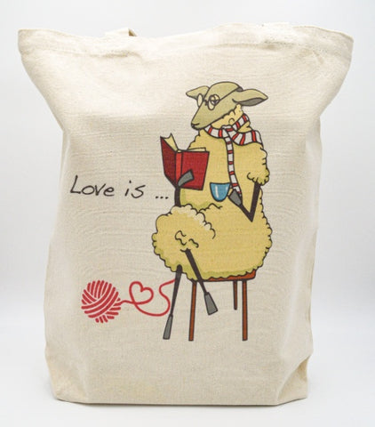 Sheep Reading and Knitting tote bag