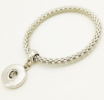 Silver tone Snap Button Bracelet - with elastic stretch