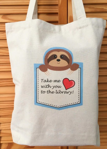 Pocket Sloth Tote Bag Book bag