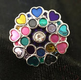 Hearts and Circles - colorful snap button