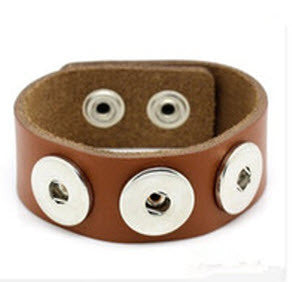 Leather Snap button Bracelet - with snap buttons