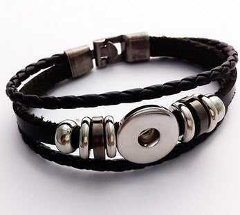Leather Snap Button Bracelet - 3 strand
