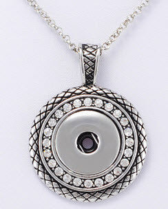 Snap Button Necklace - antique silver style
