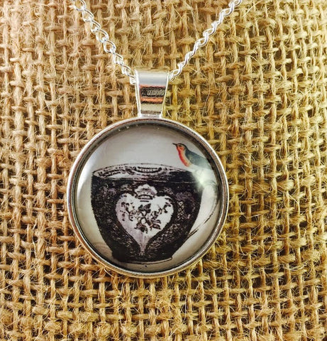 Teacup & Bird Pendant Necklace