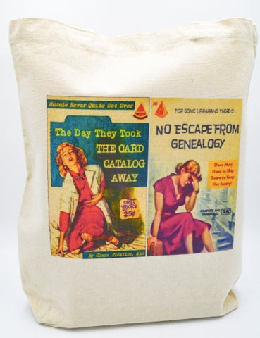 Librarian Pulp Fiction The Day They Took the Card Catalog Away No Escape From Genealogy Tote bag Book bag