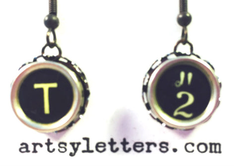 Vintage Typewriter Key Earrings - T 2