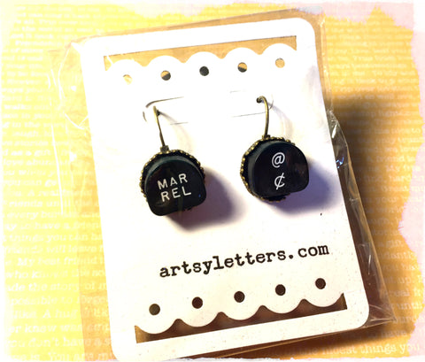 Vintage Typewriter Key Earrings - margin release, cent key
