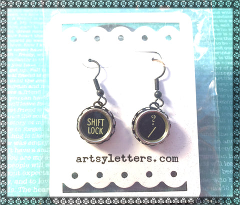 Vintage Typewriter Key Earrings - shift lock, question mark