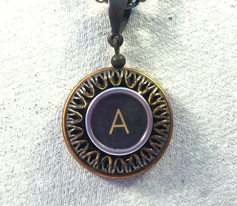 Vintage Authentic Typewriter Key Necklace - letter A