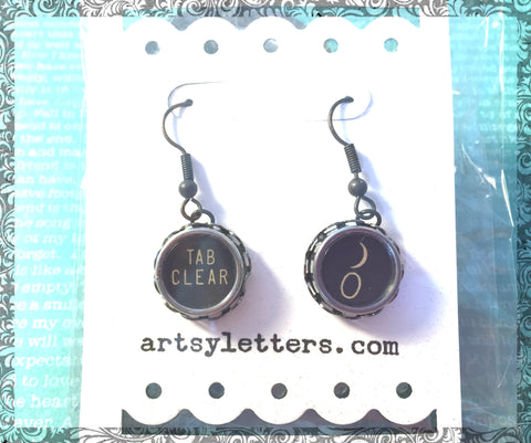 Vintage Typewriter Key Earrings - tab, clear, parenthesis
