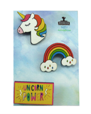 Unicorn Rainbow pins brooches - set of 3