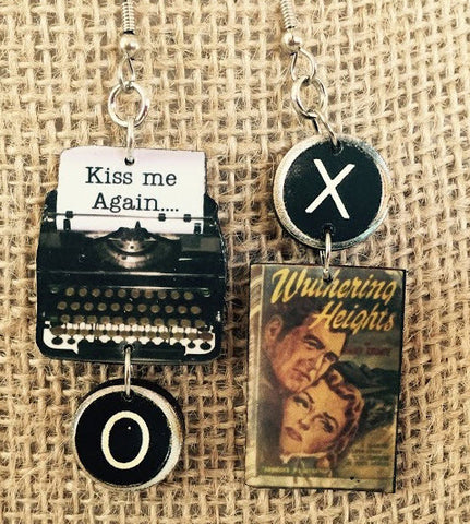 Wuthering Heights Typewriter Book Earrings