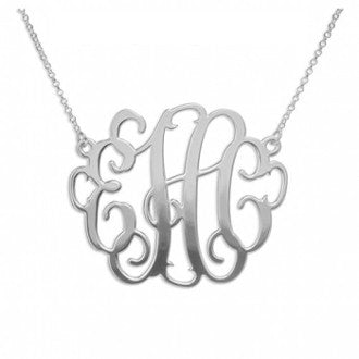1.5 Inch Monogram Necklace in Silver