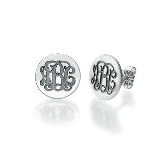 Engraved Monogram Studs in Silver