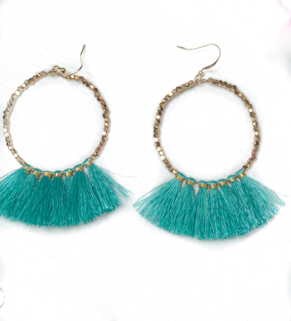 Teal Tassel Gold Beads Downtown Diva Fashion Boutique