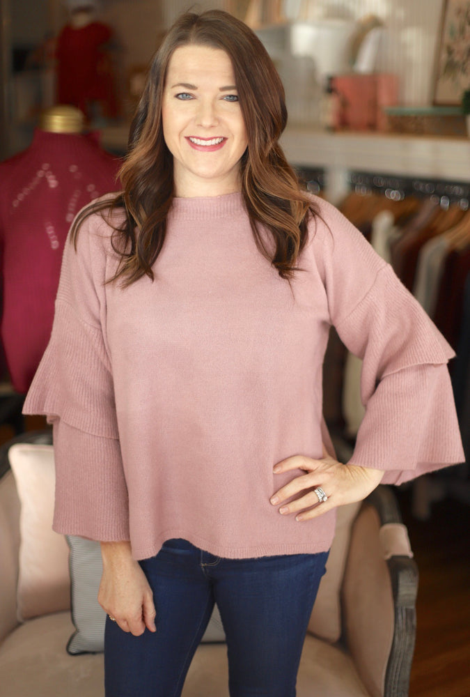 Layers of Love Sweater in Blush