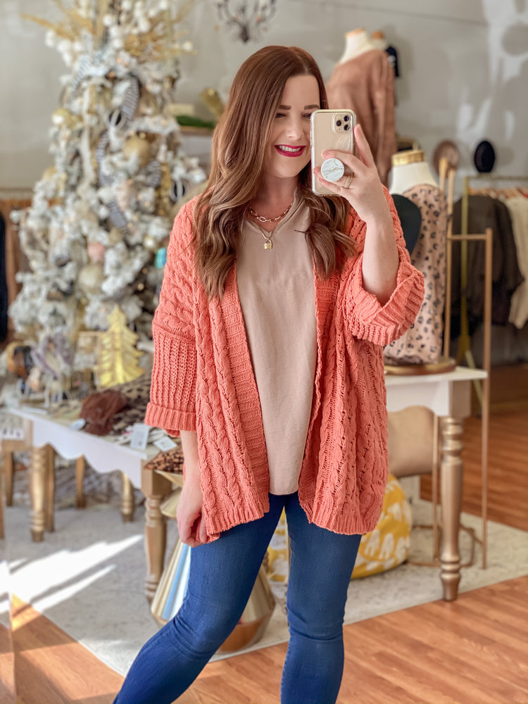 Thankful & Blessed Cardigan in Clay