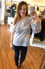 Coming Back to Me Now One Shoulder Striped Top