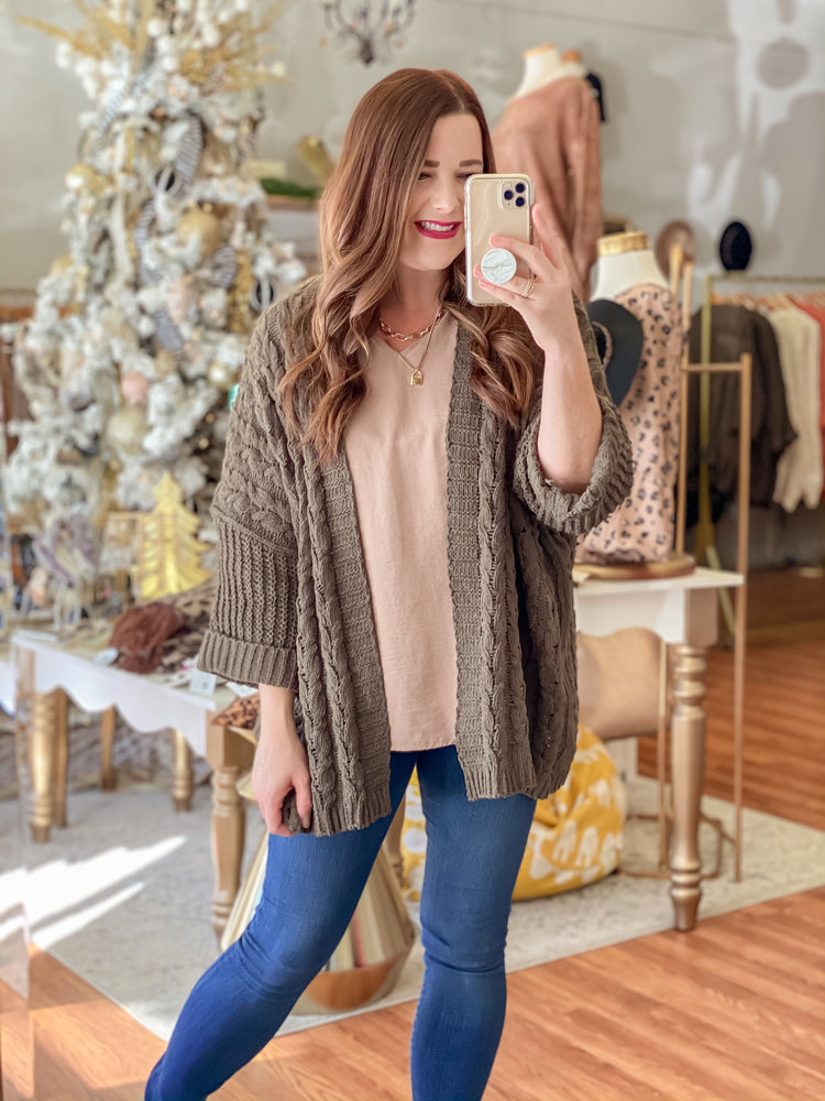 Thankful & Blessed Cardigan in Olive