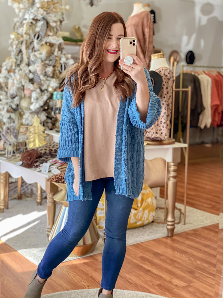 Thankful & Blessed Cardigan in Blue