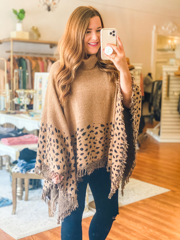 One Chance Poncho in Camel