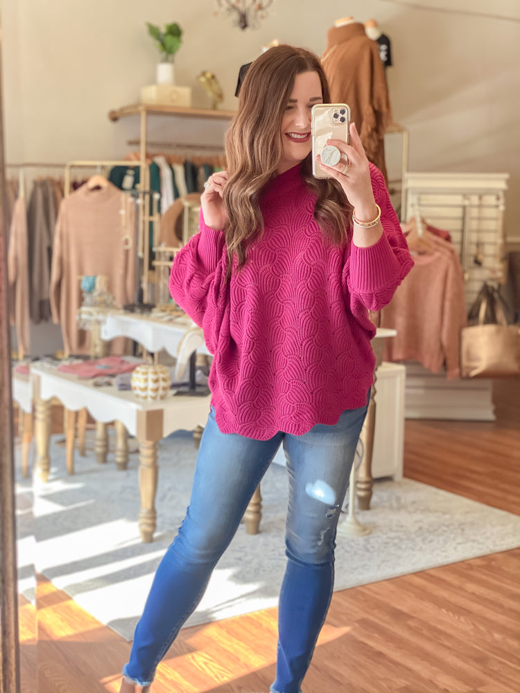 Feeling the Love Sweater in Berry