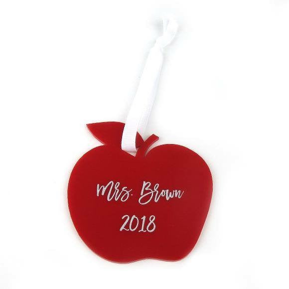 Red Apple Teacher Ornament