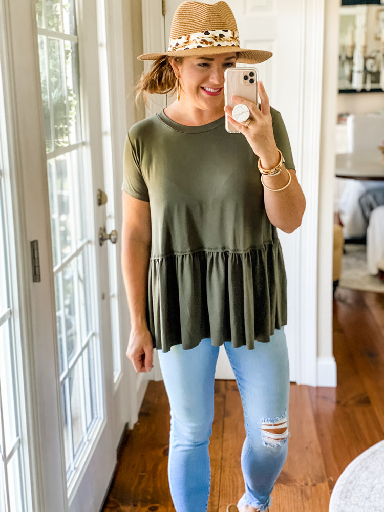 Let's Be Clear Top in Olive