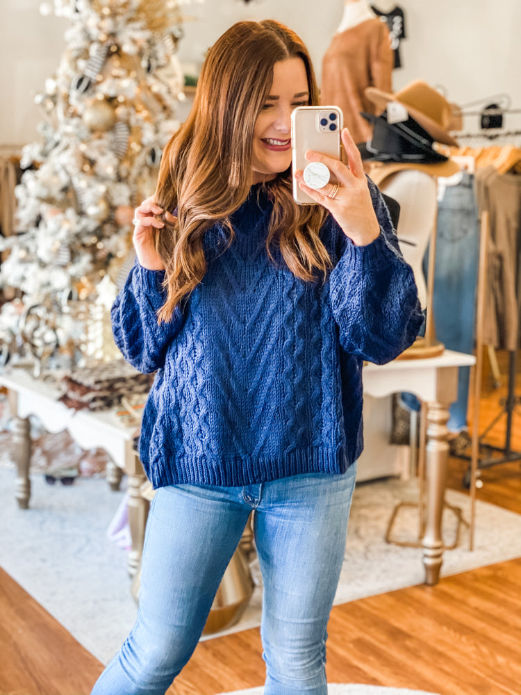 Just Be You Sweater in Navy