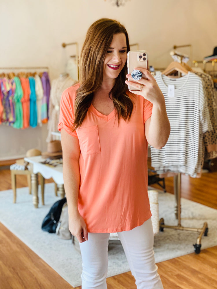 Pocket Tee in Coral