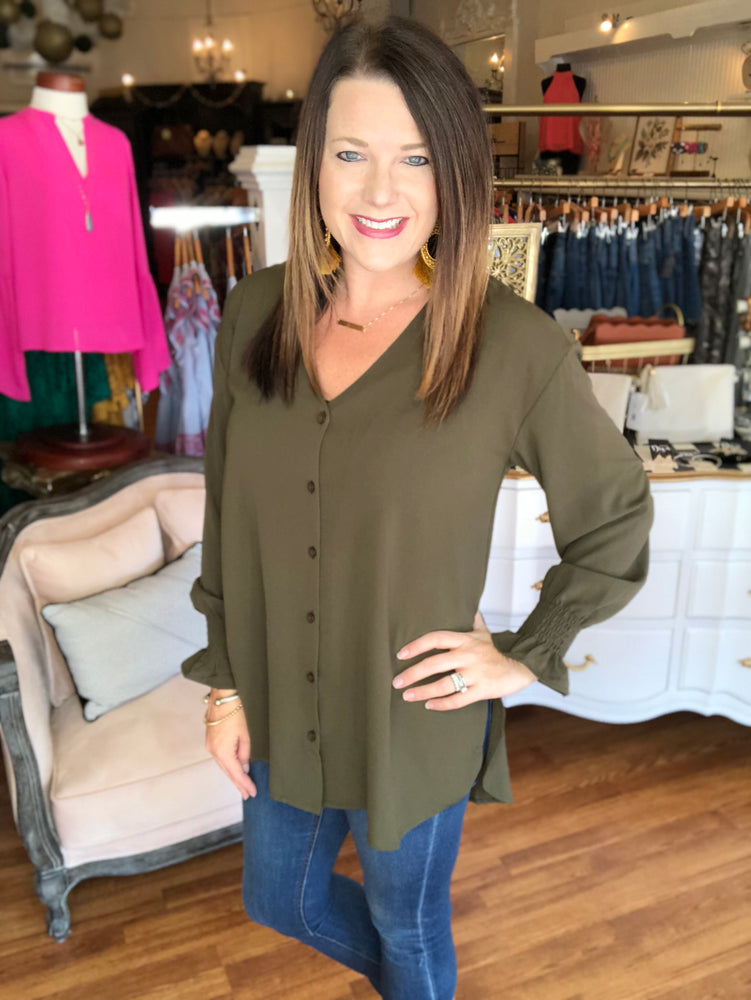 Over the Moon Top in Olive