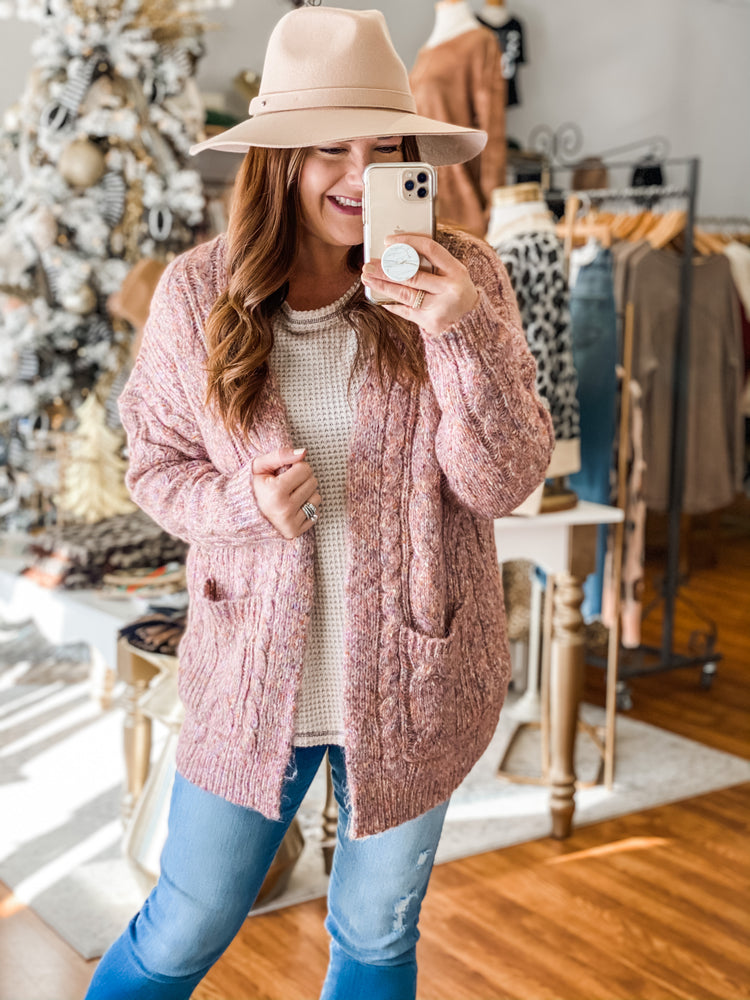 Created Comfort Cardigan in Pink