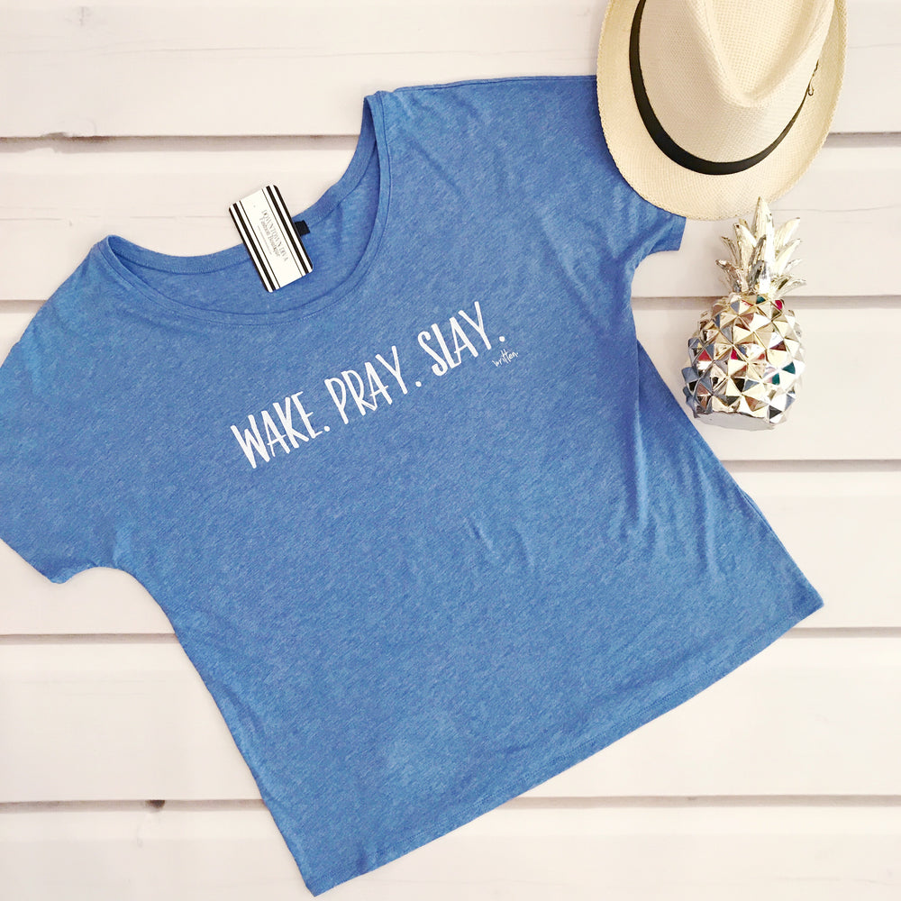 XWake.Pray.Slay, Tee in Blue