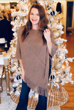Cozy By the Fire Poncho in Mocha