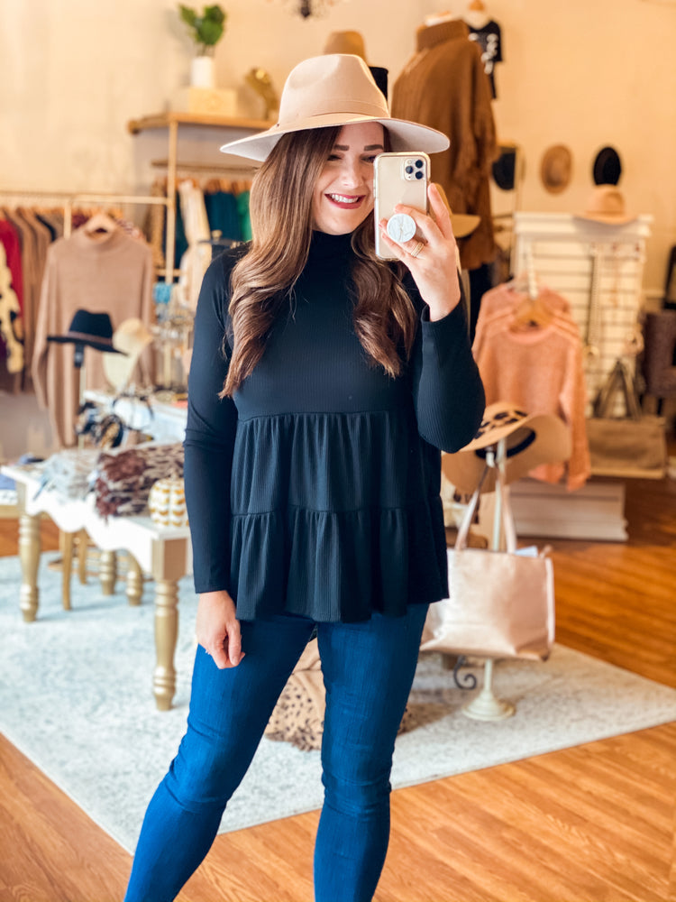 Plans for the Weekend Top in Black