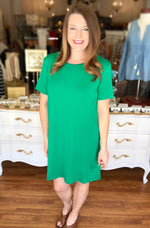 Short Sleeve Piko Dress in Green