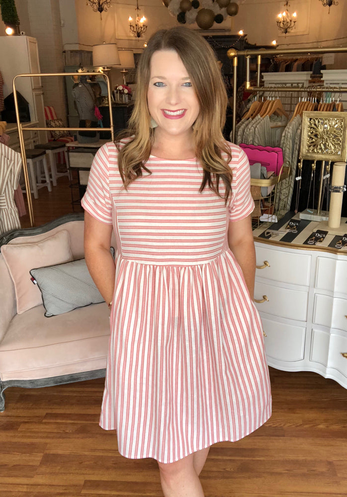 Calmer Waves Dress in Coral
