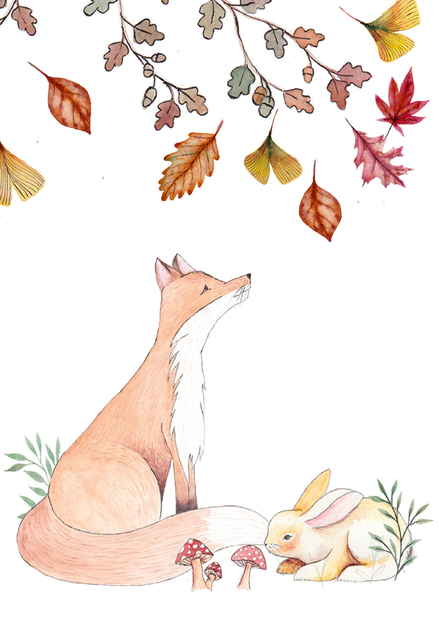 JM16 Woodlands & Wildflowers - Fox & Bunny