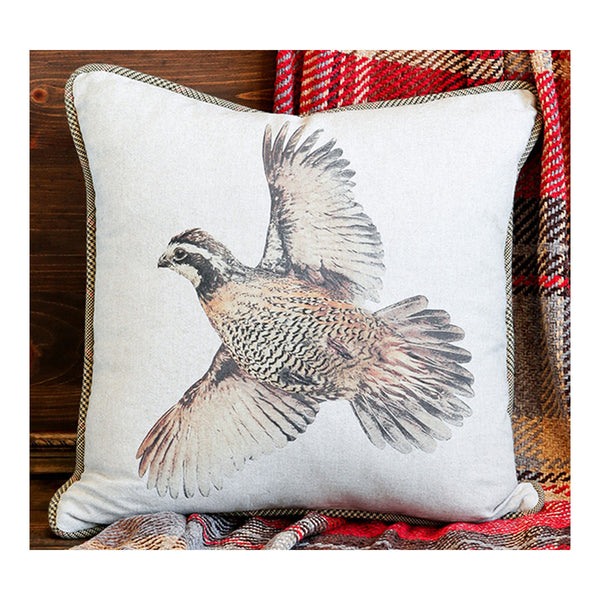 Bobwhite in Flight Quail Pillow