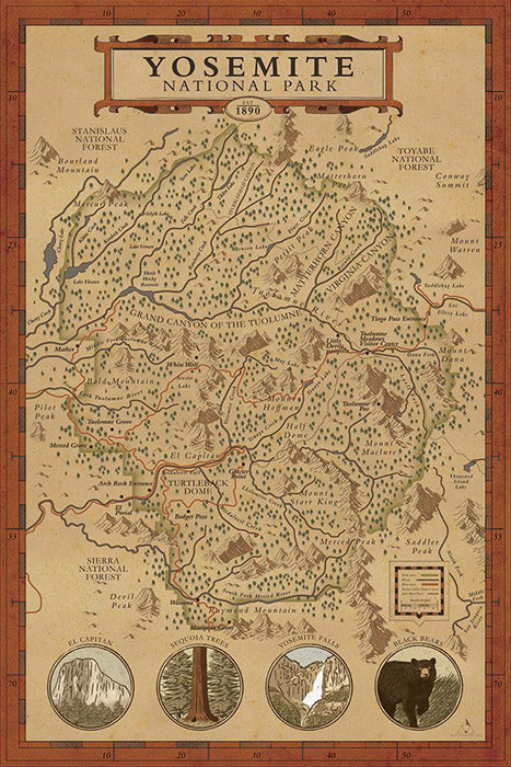 Yosemite National Park Map Print