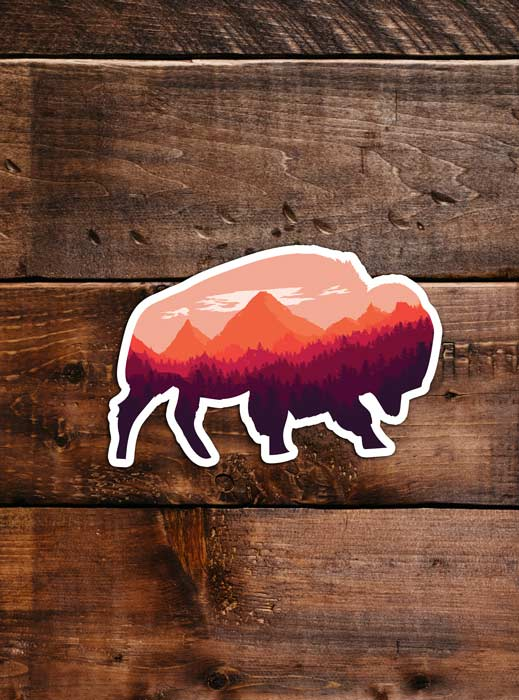 Bison Sticker, waterproof vinyl for Laptop, Car Window, cooler, bumper and water bottle.