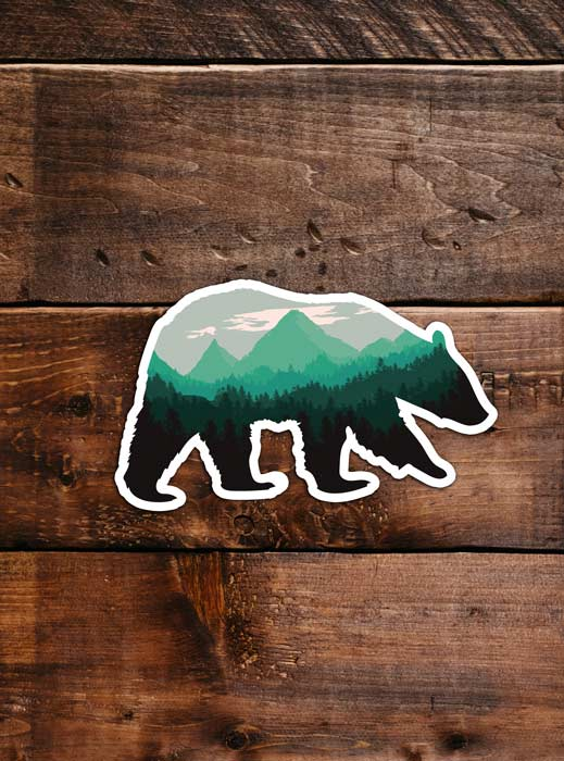 Black bear Sticker, waterproof vinyl for Laptop, Car Window, cooler, bumper and water bottle.