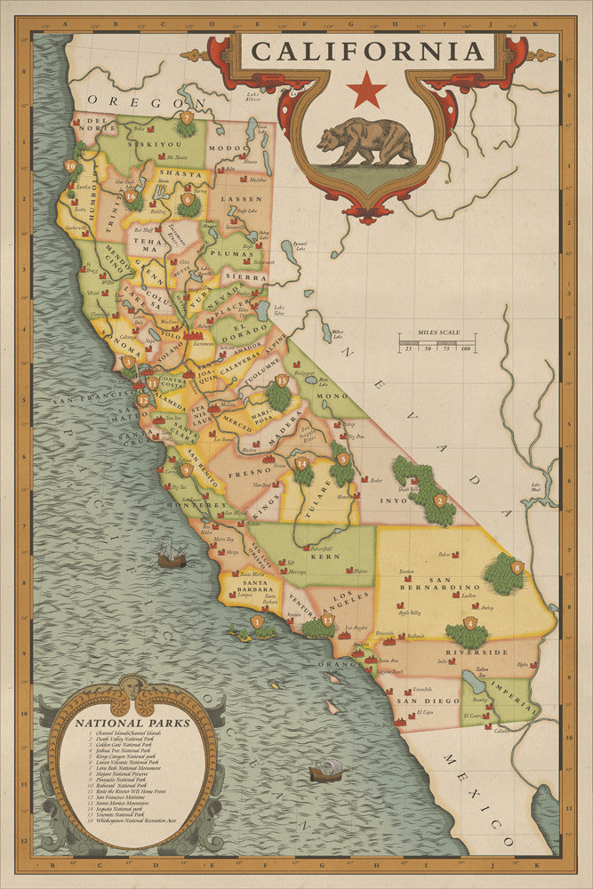 California National Parks Map hikeanddraw