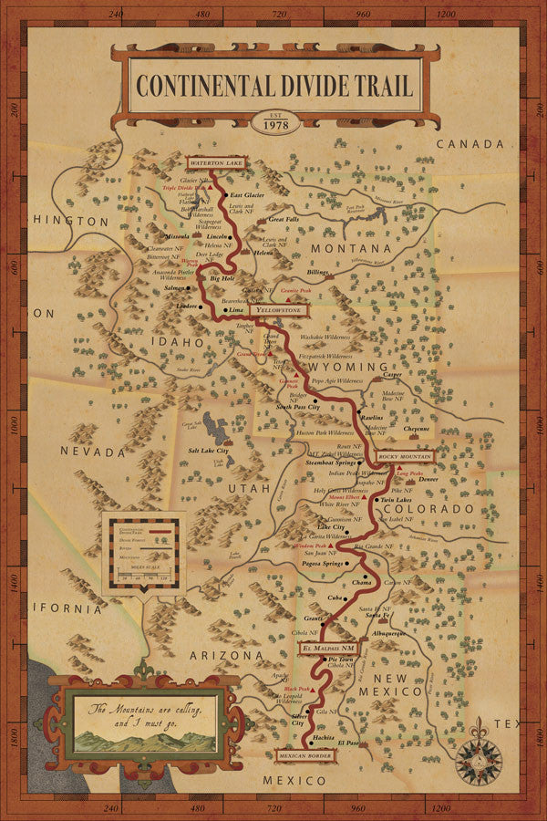 Continental Divide On Us Map.Continental Divide Trail Map Hikeanddraw