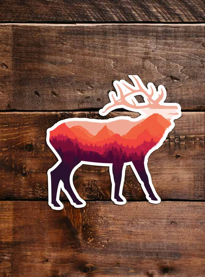 Elk Sticker, waterproof vinyl for Laptop, Car Window, cooler, bumper and water bottle.