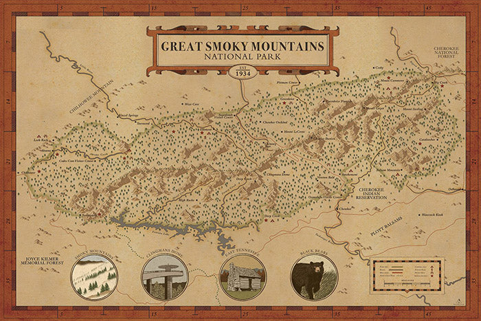 Great Smoky Mountains Map hikeanddraw