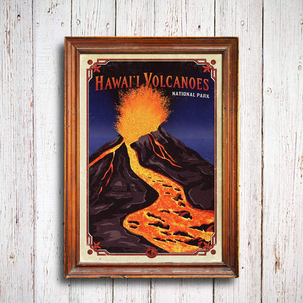Hawaii Volcanoes National Park Poster Hikeanddraw
