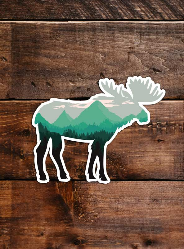 Moose Sticker, waterproof vinyl for Laptop, Car Window, cooler, bumper and water bottle.